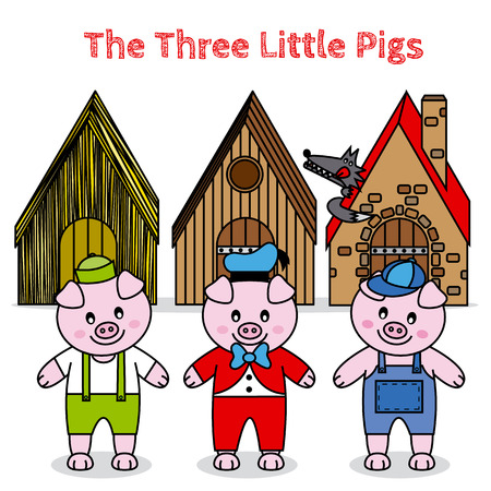 three animals: the three little pigs and the big bad wolf  children story Illustration
