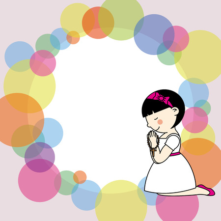 First communion card  Little girl praying  Stock Vector - 24524062