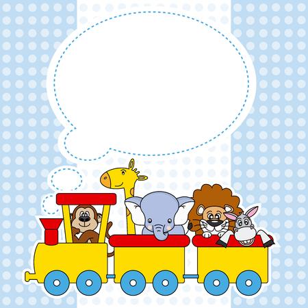 birthday train: Children train with animals  birthday Card