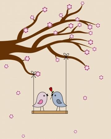 san valentin: Card san Valentin  birds in love