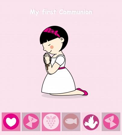 First Communion Invitation Card  Girl Stock Illustratie