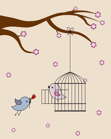 Card san Valentin  birds in love  Vector
