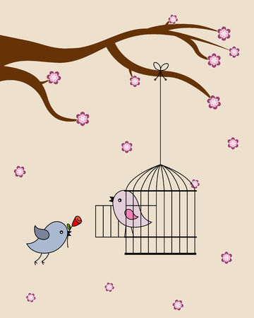 aves: Card san Valentin  birds in love