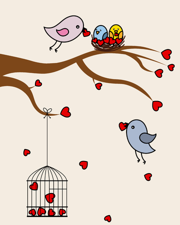 aves: Card san Valentin   birds in love  Illustration