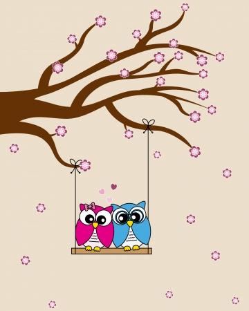 san valentin: Card san Valentin  Owls in love Illustration