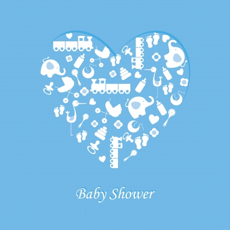 bird feet: Baby boy birth card  Illustration