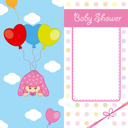 baby announcement card: Baby girl arrival announcement card Illustration