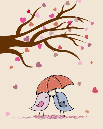 Card san Valentin  birds in love  Vector