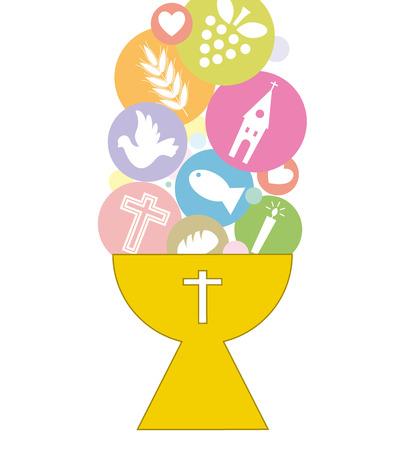 sacra famiglia: Prima Comunione Invitation Card Vettoriali