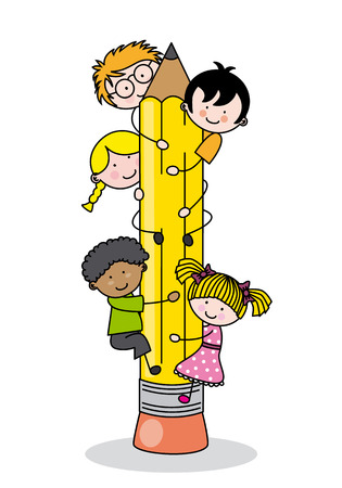 children climbing up a pencil