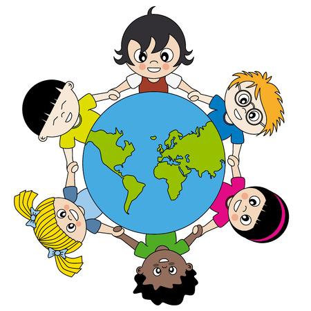 Enfants à travers le monde uni Banque d'images - 25470069