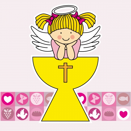 First communion card  Angel in the holy grail  Girl  Illustration