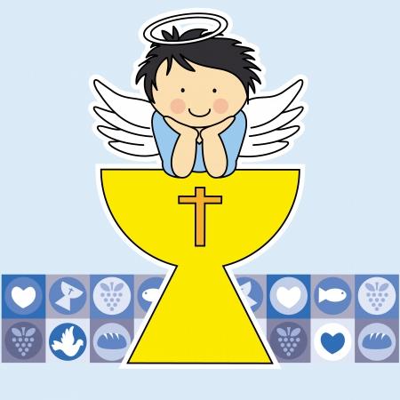 vormsel: Eerste communie kaart Engel in de heilige graal Stock Illustratie