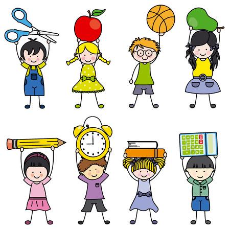 Los niños con objetos de la escuela Foto de archivo - 25470072