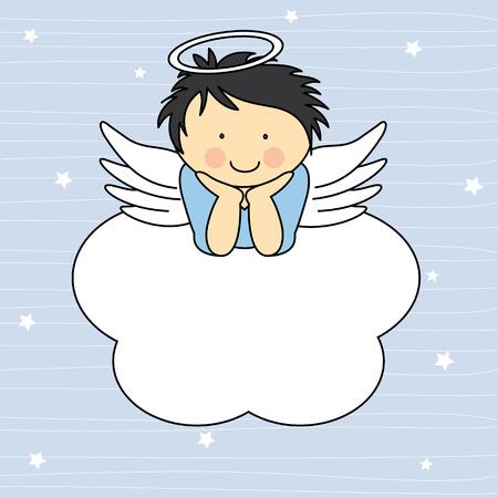 구름 인사말 카드에 천사 날개