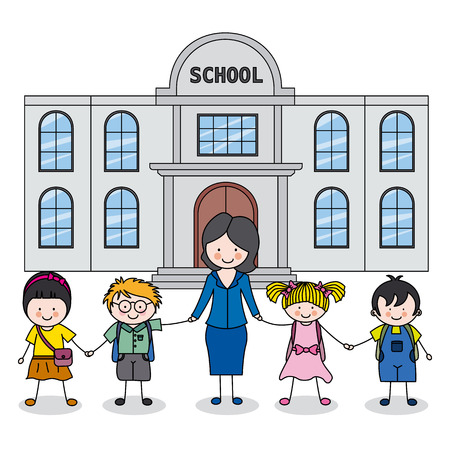 preschool teacher: children and teacher in front of the school