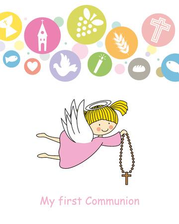 first communion card  Angel  Illustration