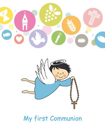 boy first communion card  Angel  Ilustrace