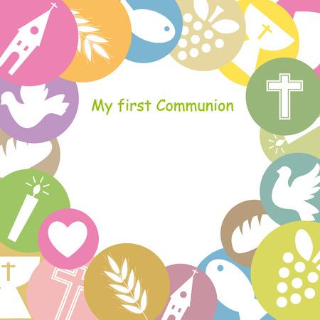 prima comunione: Prima Comunione Invitation Card Vettoriali
