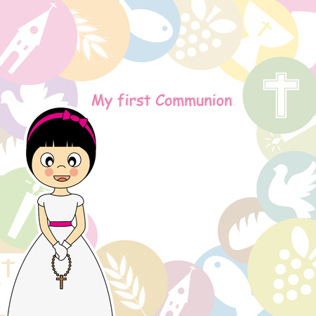 Girl First Communion Invitation  Vector