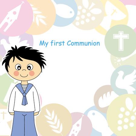 Boy First Communion Invitation  Vector