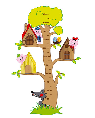 a house with a straw: Bumper children meter wall  the three little pigs and the wolf Illustration