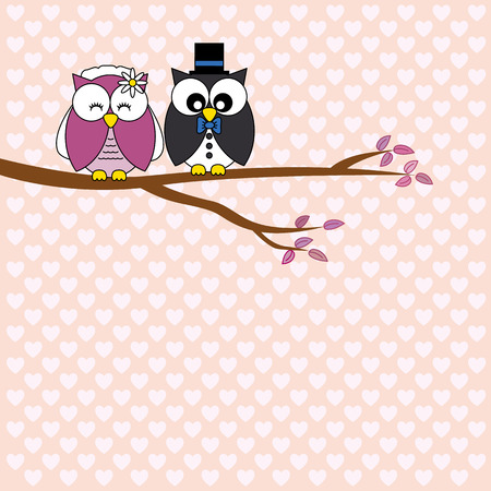 Owls in love  wedding card Illustration