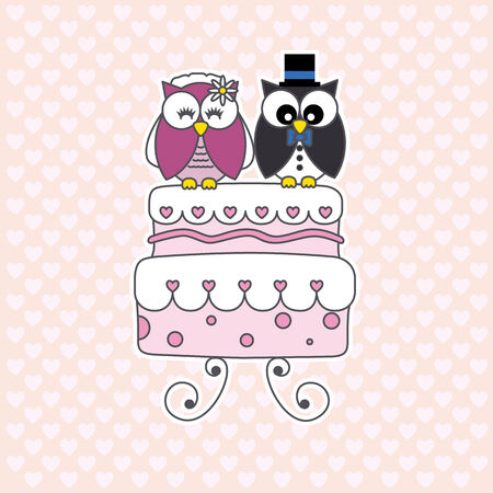 Owls in love  wedding card Vector