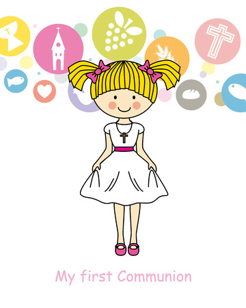 the first communion: Girl First Communion