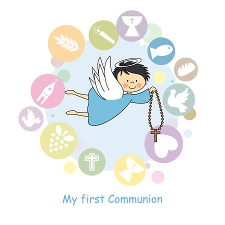 premi�re communion: ange de vol carte de communion