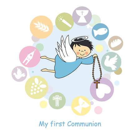 prima comunione: angelo di volo comunione card Vettoriali