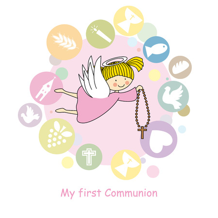 confirmation: flying angel  communion card