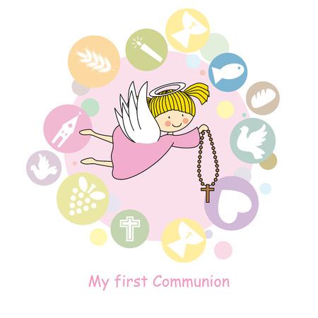 angeles bebe: volando tarjeta de comunión ángel