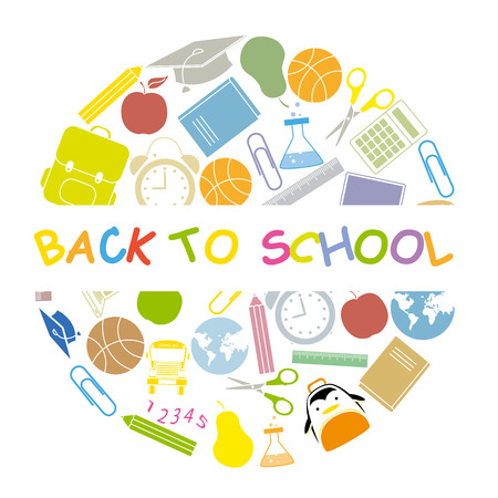back to school  school icons Vector