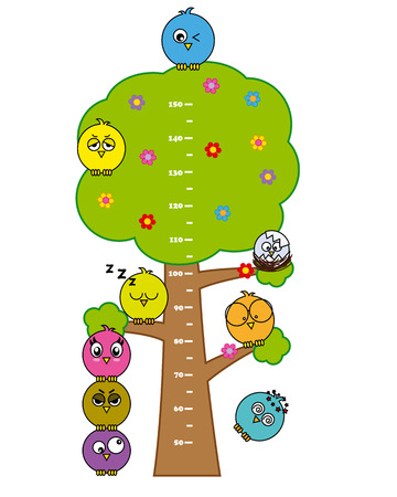 cute bumper children meter wall  Birds Vector
