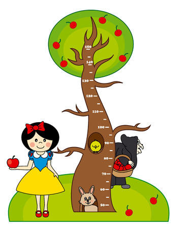 Bumper children meter wall  Princess Snow White with Witch Vector