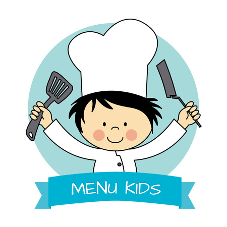 Illustration of Little Chef Boy holding a Saucepan and a Kitchen Spoon