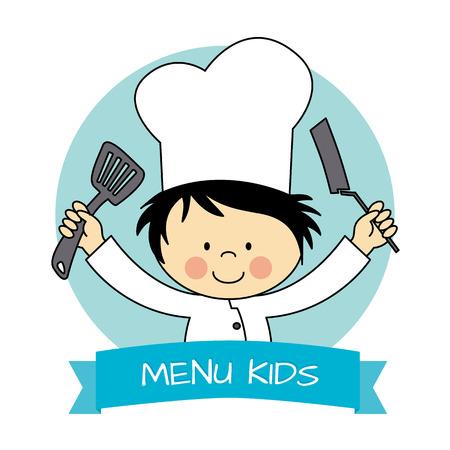 utensilios de cocina: Ilustración de Little Boy Chef la celebración de una cacerola y una cuchara de cocina