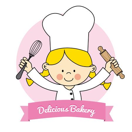 작은 요리사 여자의 그림