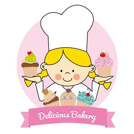cakes background: Illustration of Little  pastry girl