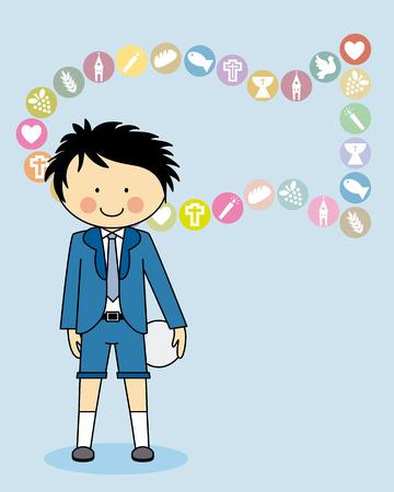 primera comunion: Tarjeta de la invitación del muchacho Primera comunión Vectores