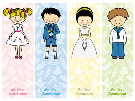 the first communion: set first communion Illustration