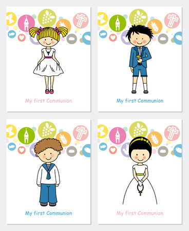 communion: set first communion Illustration
