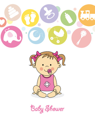 baby shower  baby girl sitting with pigtails and bows Vector