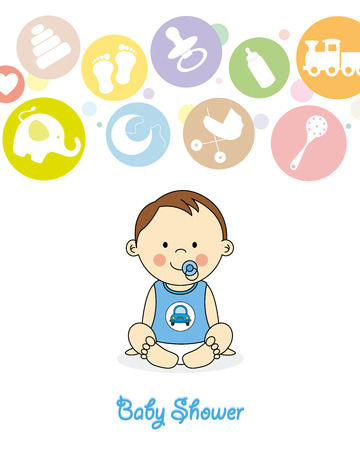 baby boy cartoon: baby shower  baby boy sitting with pigtails and bows