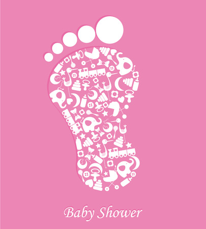 bib: Baby girl birth card  foot with baby icons