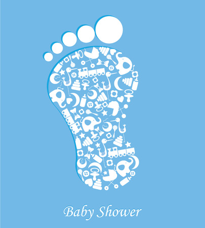 Baby boy birth card  foot with baby icons Vector