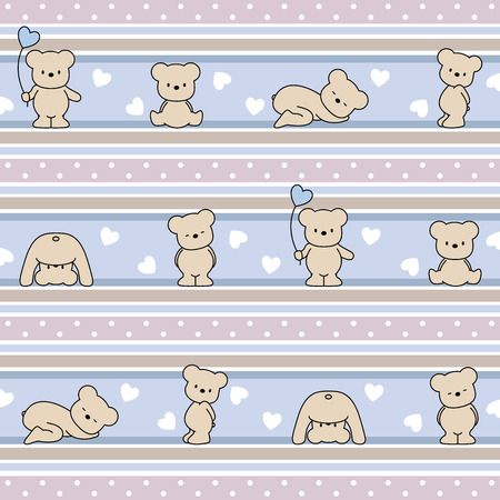 seamless vector children  pattern with teddy bears Vector