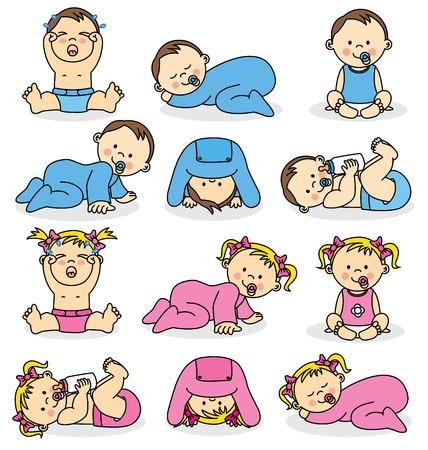 crying boy: Ilustración vectorial de los bebés varones y las niñas bebés