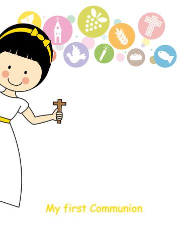 kruzifix: Mädchen Erstkommunion-Einladungs-Karte Illustration